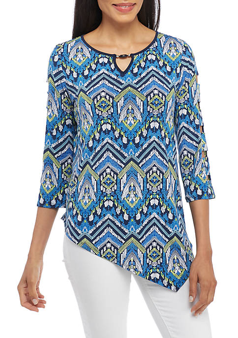 Alfred Dunner Zig Zag Print Knit Top