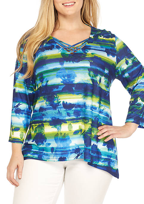Alfred Dunner Plus Size Watercolor Biadere Knit Top