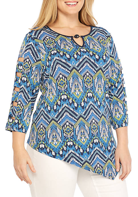Alfred Dunner Plus Size Zig Zag Print Knit