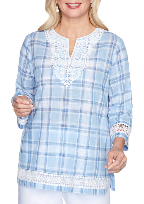Petite Bella Vista Lace Trim Plaid Woven Shirt