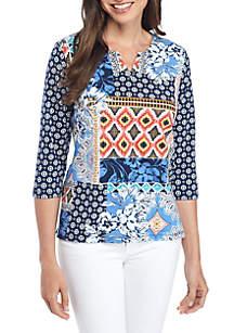 Batik Patch Knit Blouse