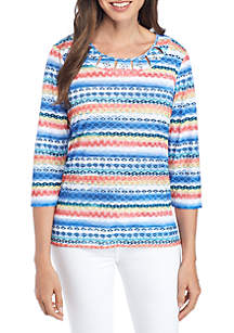 Textured Biadere Knit Blouse