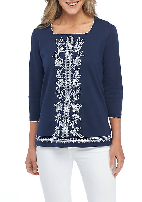 Alfred Dunner Center Embroidered Top