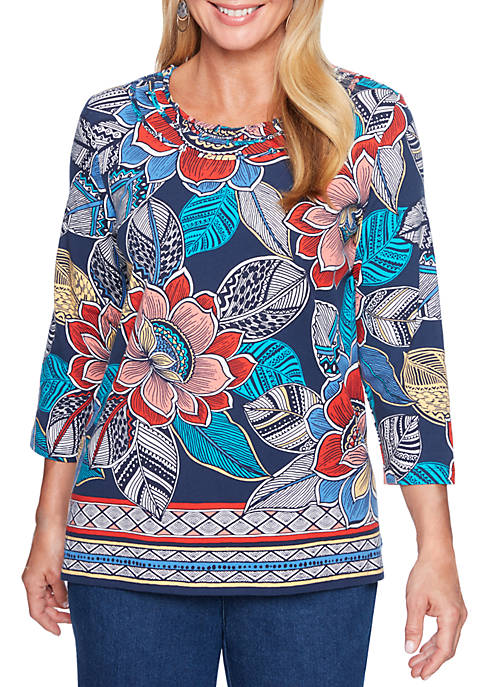 Alfred Dunner Petite Size Floral Border Top