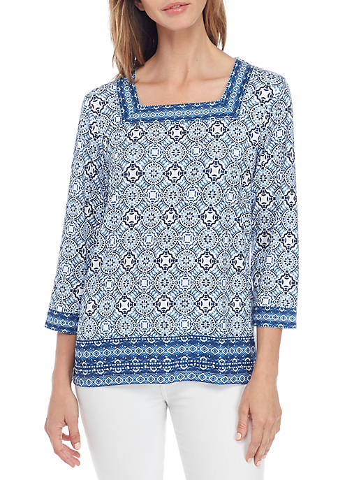 Alfred Dunner Out Of The Blue Medallion Knit