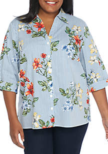 Plus Size Out of the Blue Floral Woven Stripe Shirt