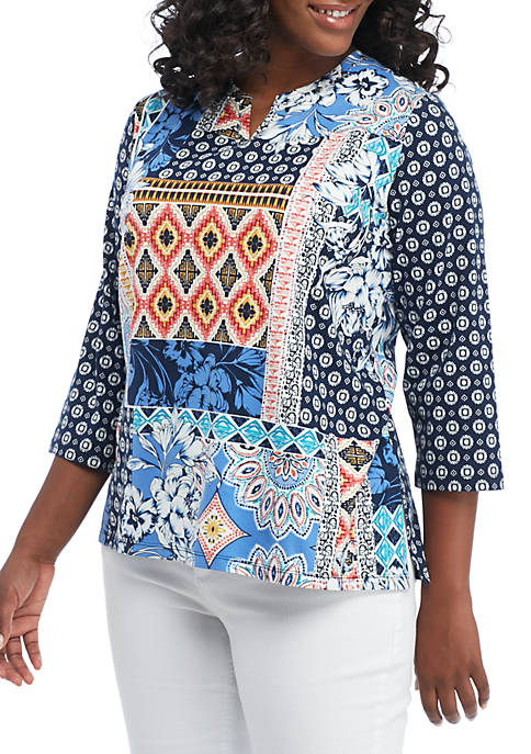 Alfred Dunner Plus Size Batik Patch Knit Top