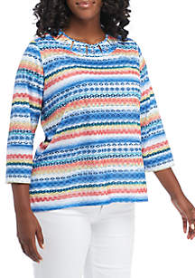 Plus Size Textured Biadere Knit Blouse
