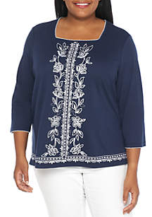 Plus Size Out of the Blue Center Embroidered Blouse