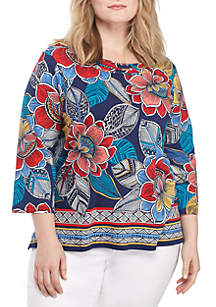 Plus Size Out Of The Blue Ethnic Floral Border Top
