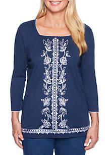 Petite Center Embroidered Top