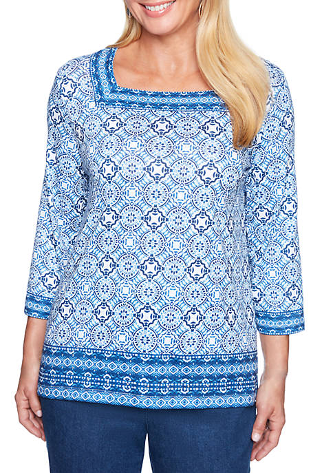 Alfred Dunner Petite Size Medallion Knit Top