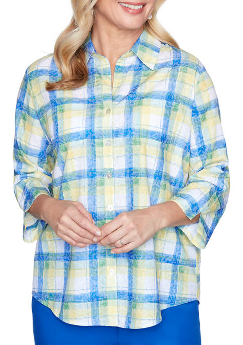 Petite Look On The Brightside Etched Plaid Shirt