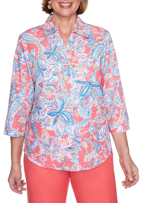 Womens Look On The Brightside Jacobean Floral Shirt