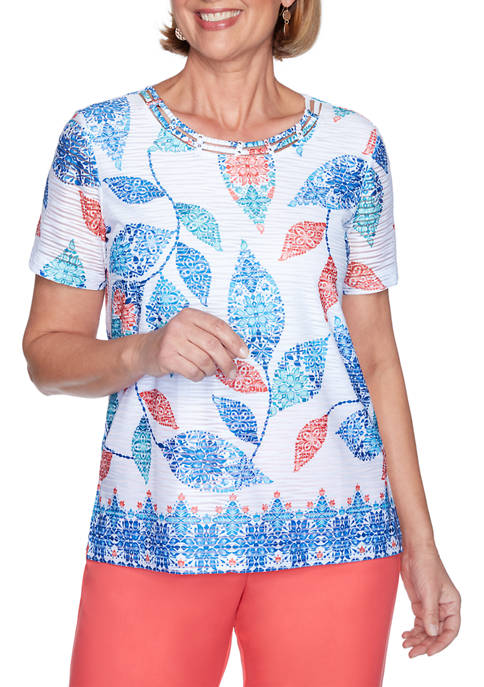 Womens Look On The Brightside Batik Leaves Border Top
