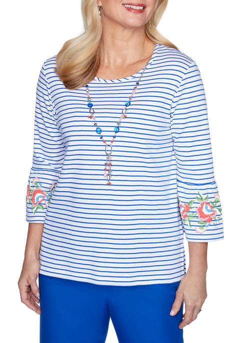 Alfred Dunner Womens Look On The Brightside Striped