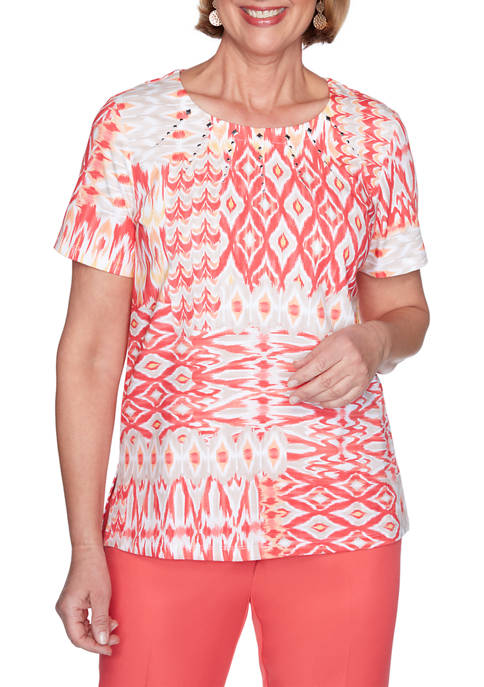 Alfred Dunner Womens Look On The Brightside Ikat