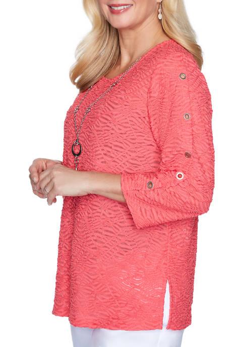 Womens Look On The Brightside Grommet Sleeve Textured Top