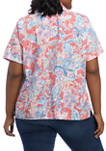 Plus Size Look On The Brightside Roll Tab Jacobean Floral Burnout Top