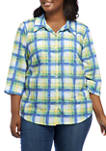 Plus Size Look On The Brightside Roll Tab Etched Plaid Top