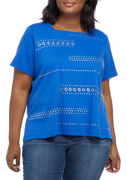 Plus Size Look On The Brightside Short Sleeve Grommet Heat Set Biadere Top