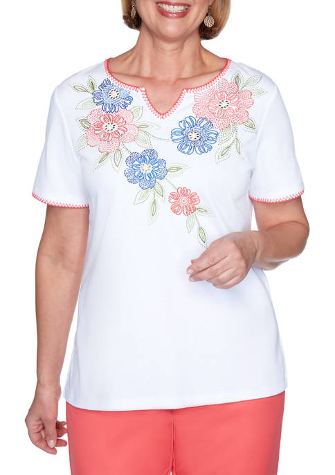 Petite Look On The Brightside Embroidered Floral Yoke Top