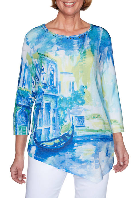 Petite Look On The Brightside Scenic Print Top