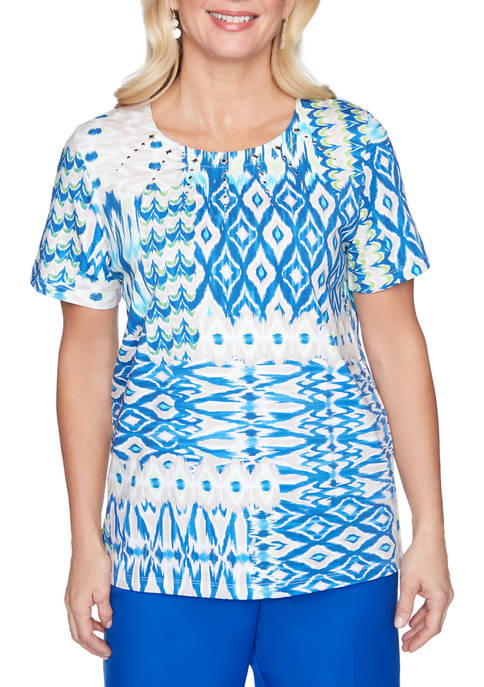 Petite Look On The Brightside Ikat Patch Print Top