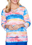Petite Look On The Brightside Watercolor Medallion Top