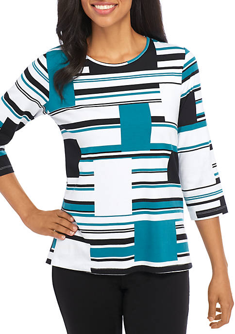 Alfred Dunner North Lake Multi Stripe Knit T-Shirt