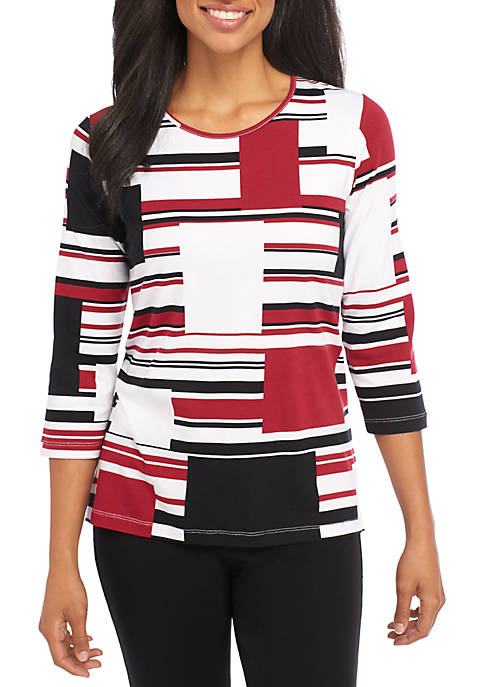 Alfred Dunner Petite Multi-Stripe Knit Tee