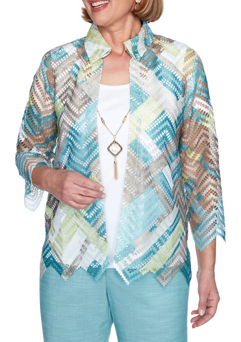 Alfred Dunner Womens Lace Zig Zag 2-for-1 Top