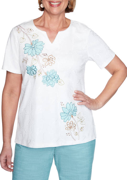 Alfred Dunner Womens Floral Appliqué Top