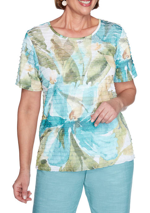 Alfred Dunner Desert Oasis Dramatic Floral Ruffle Top