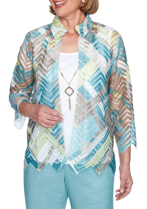 Alfred Dunner Petite Zig Zag Lace 2-for-1 Top