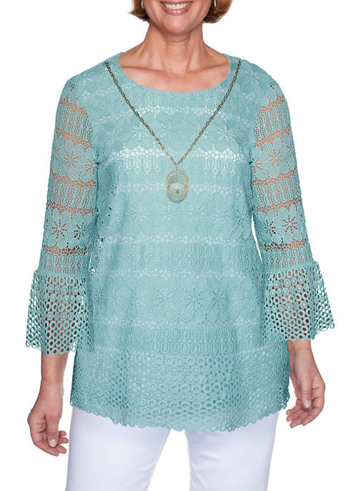 Alfred Dunner Petite Lace Top with Necklace