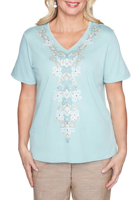 Petite Desert Oasis Center Embroidered Top