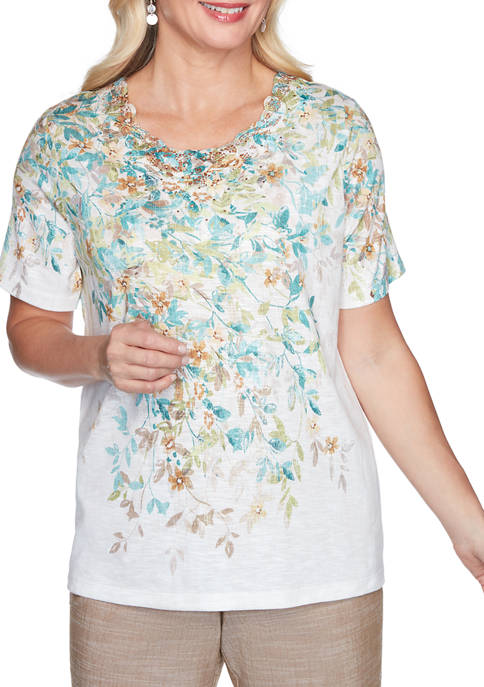 Alfred Dunner Petite Floral Appliqué Top