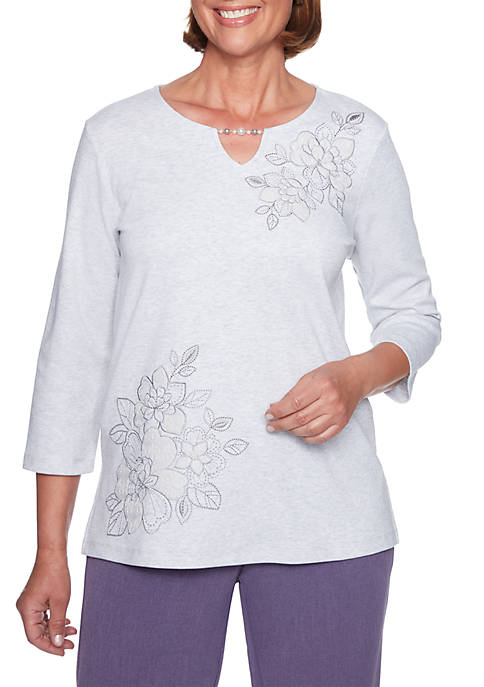 Alfred Dunner Floral Applique Knit Top