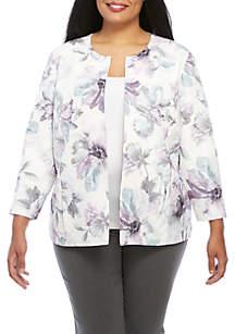 Plus Size Smart Investments Watercolor Floral Jacket