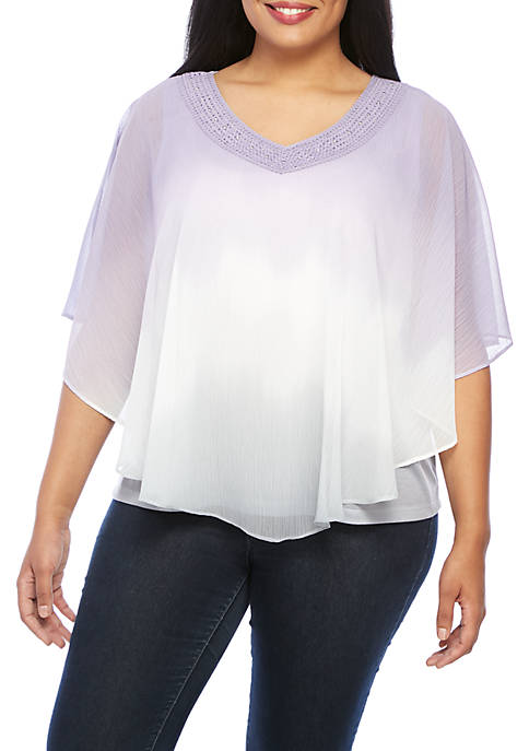 Alfred Dunner Plus Size Ombre Overlay Woven Top