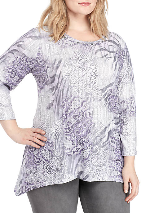 Alfred Dunner Plus Size Abstract Animal Print Tunic