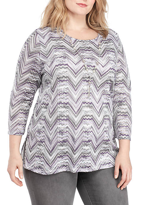 Alfred Dunner Plus Size Biardere Lace Top