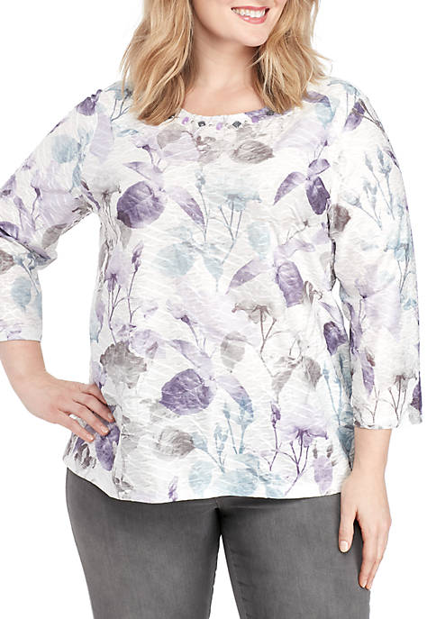 Alfred Dunner Plus Size Shadow Floral Top