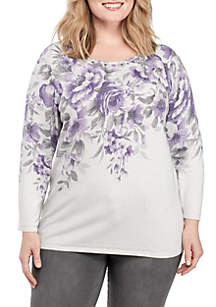 Plus Size Floral Shimmer Top