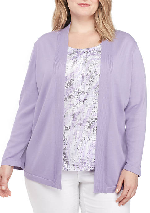 Alfred Dunner Plus Size Inner Print Two-For-One Sweater