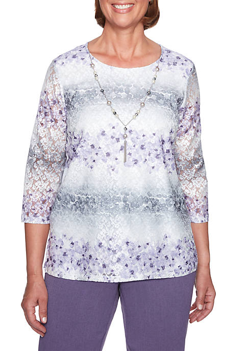 Alfred Dunner Petite Lace Biadere Top