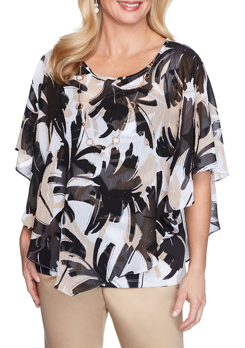 Alfred Dunner Womens Brushstroke Leaves Flutter Top