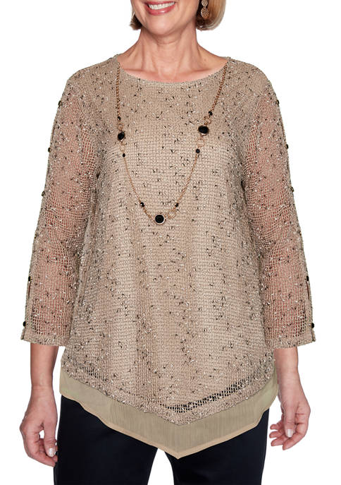 Womens Zanzibar Popcorn Mesh Overlay Top with Necklace