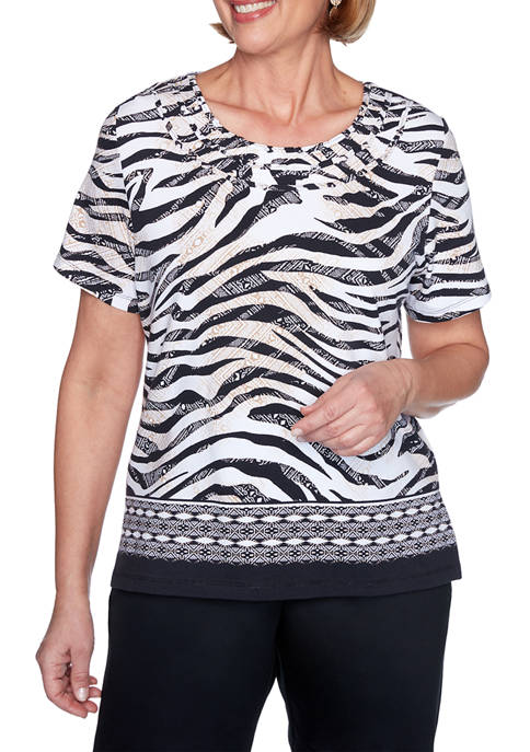 Alfred Dunner Womens Short Sleeve Zebra Print Top